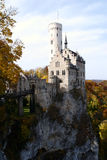 Lichtenstein Castle. Is a famous fairy tale style castle near Honau, Swabian Alb, Baden-Wuerttemberg, South-Germany. The name Lichtenstein means light (white Royalty Free Stock Images