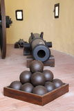 Lichtenstein Castle cannon and cannonballs Stock Photography