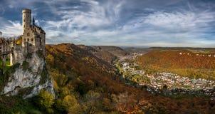 Lichtenstein Castle-panorama. Lichtenstein Castle from Germany in autumn colors Royalty Free Stock Photo