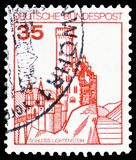 Lichtenstein Castle, Strongholds and Castles serie, circa 1982. MOSCOW, RUSSIA - MARCH 30, 2019: A stamp printed in Germany shows Lichtenstein Castle stock photo