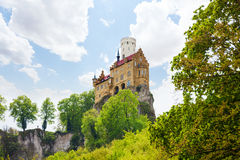 Lichtenstein castle on top of the rock cliff Royalty Free Stock Photo