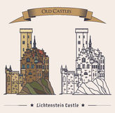 Lichtenstein or fairy tale castle on mountain Stock Photography