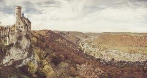 Lichtenstein kasteel-Panorama Royalty-vrije Stock Afbeelding