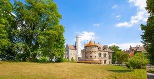 Lichtenstein medieval castle on a bright sunny day. stock photos