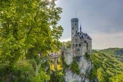 Lichtenstein slott i Baden-Wurttemberg, Tyskland Royaltyfri Bild