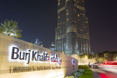 Lichter auf Burj Khalifa nachts in Dubai, Welthöchstes Gebäude Lizenzfreies Stockfoto