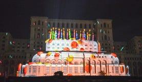 Lichter auf dem Haus der Leute, Bukarest Lizenzfreie Stockbilder