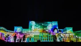 Lichter auf dem Haus der Leute, imapp 2016, Bukarest Stockfotografie