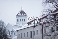 Lichter auf dem Hintergrund der Kathedrale des Theotokos, Vilnius Lizenzfreie Stockfotografie