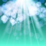 Lichter auf grünem Hintergrund bokeh Effekt. Stockfoto