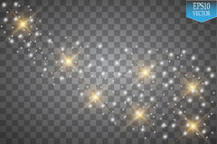 Lichter auf transparentem Hintergrund Funkelnwellen-Zusammenfassungsillustration des Vektors weiße Weiße funkelnde Sternstaubspur lizenzfreie abbildung