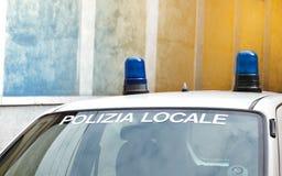 Lichter eines Polizeiwagens im Italien Lizenzfreie Stockfotografie