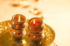 Lichter und diyas Diwali stockfoto