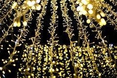 Lichter und Laternen in der Nacht Bokeh Stockbilder