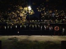 Lichter, Wasser und Reflexionen stockbild