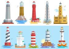 Lichtere richtende weg van het vuurtoren de vectorbaken van verlichting aan ses van de illustratiereeks van de kustkust vuurtoren royalty-vrije illustratie