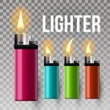 Lichtere Vector Brandstofhulpmiddel Rookteken burning 3D Realistisch Plastic Lichter Pictogram Illustratie vector illustratie