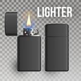 Lichtere Vector Brandwondvoorwerp burning 3D Realistisch Metaal Lichter Pictogram Illustratie royalty-vrije illustratie