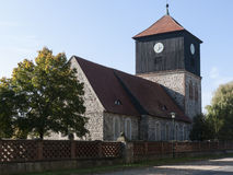 Lichterfelde-Kirche-Langschiff. The village Lichterfelde is located near Eberswalde in Brandenburg, northeast of Berlin. - here: stone church from the 13th royalty free stock photo