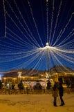 Lichterkette im Großen Quadrat von Sibiu Lizenzfreie Stockbilder