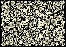 Lichtgeel bloemornament op zwarte Stock Foto's