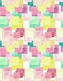 Lichtgele waterverf en Rose Squares Seamless Pattern Royalty-vrije Stock Foto's