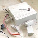 Lichtgewicht concrete blok grondstof voor industriële muur Stock Afbeelding
