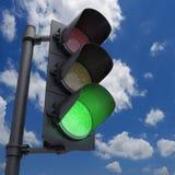 Lichtgroen verkeer Stock Foto