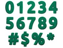 Lichtgroene bontcijfers en symbolen op witte achtergrond Geïsoleerde digitale illustratie het 3d teruggeven Royalty-vrije Stock Fotografie