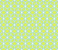 Lichtgroene kubussen met blauwe abstracte geometrische naadloze het patroonachtergrond van de grens kubieke contour Stock Foto's