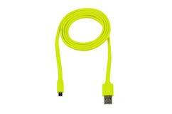 Lichtgroene USB-kabel geïsoleerde micro usb Stock Afbeeldingen