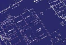 Lichtpause der Gebäude-Pläne Lizenzfreie Stockfotografie