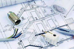 Lichtpause für ein Haus elektrisch lizenzfreie stockbilder
