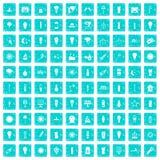 100 Lichtquelleikonen stellten Schmutz blau ein Stockfotografie