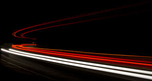Lichtspuren im Tunnel Stockbilder