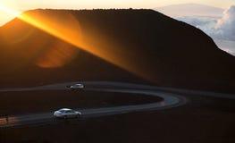 Lichtstrahl der steigenden Sonne. Lizenzfreie Stockbilder