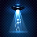 Lichtstrahl UFO-Invasion mit Ausländer vektor abbildung