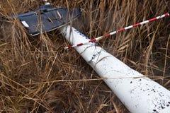 Lichtstrahl zerschmetterte Hubschrauber Robinson 44 stockbilder