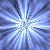 Lichtstrahlen der blauen Leuchte Stockfoto