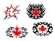 Liści klonowy symbole maskotki i Zdjęcia Stock