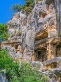 Lician Rocha-cortou túmulos em Myra Imagens de Stock