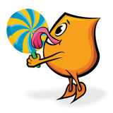 Licking big lollipop Royalty Free Stock Image