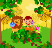 Licking Lollipops. Illustration of a lion, boy and lizard in a pile of leaves licking lollipops stock illustration