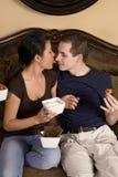 Licking nose whip cream Royalty Free Stock Image