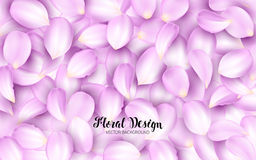 Licking the pink petals of a flower on a pile. Effect Realistic Design Elements. Vector Illustration. Floral background.  Royalty Free Stock Photo