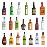 Licor, uísque, vodca e outras garrafas de bebidas alcoólicas Imagens do vetor no estilo liso ilustração do vetor