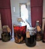 Licores hechos en casa en botellas imágenes de archivo libres de regalías