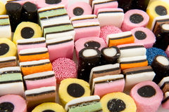 Licorice allsorts. Mixture filled as background Stock Photography