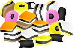 Licorice Allsorts. Isolated on white Royalty Free Stock Photography