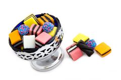 Licorice Allsorts in a Bowl. With some Overflowing - Top view Stock Image